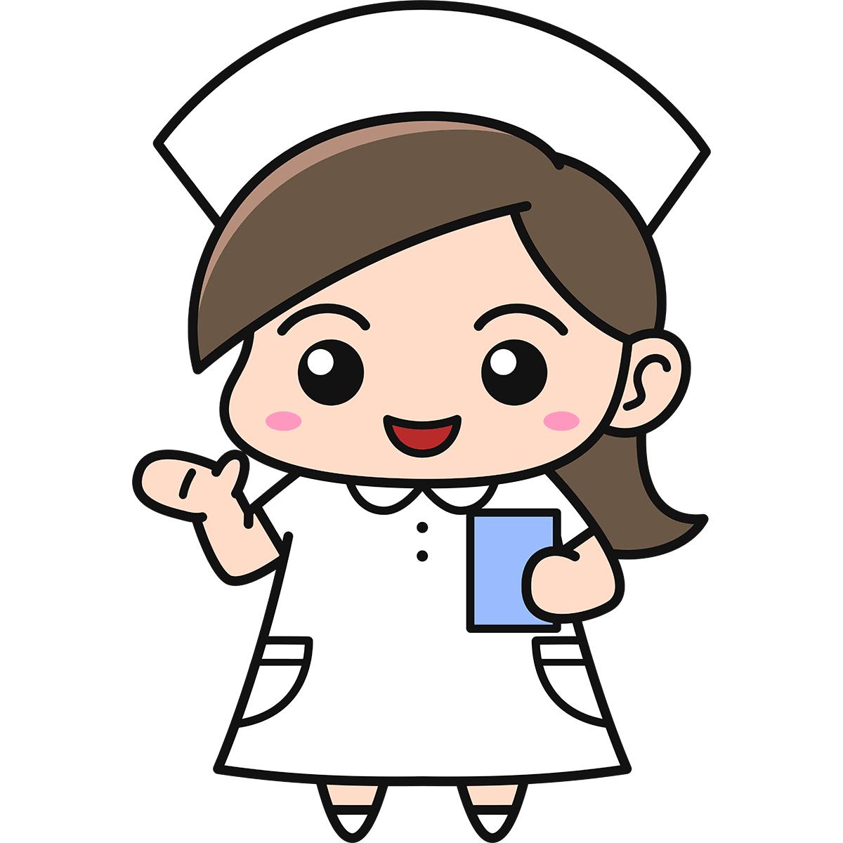 女性看護師(案内)の無料イラスト