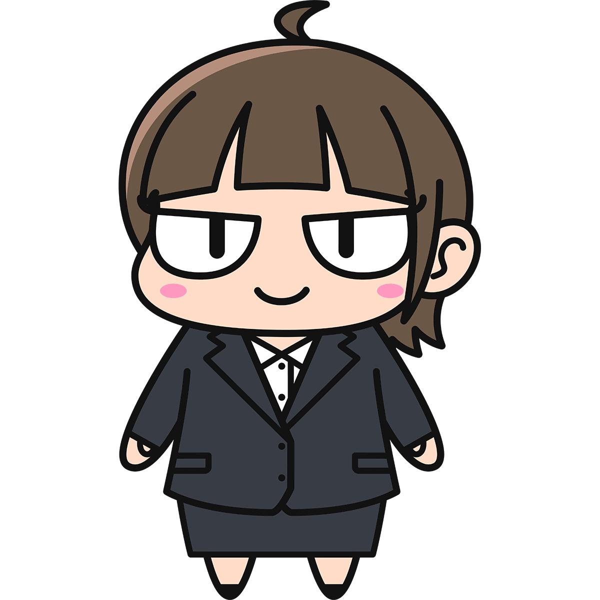 OLダメコ(スーツ)の無料イラスト