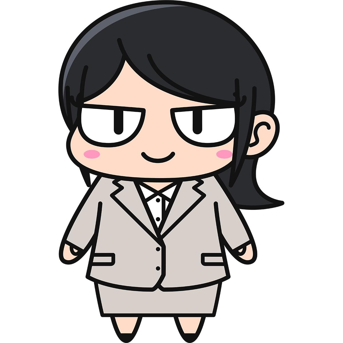 黒髪OLダメコ(スーツ)の無料イラスト