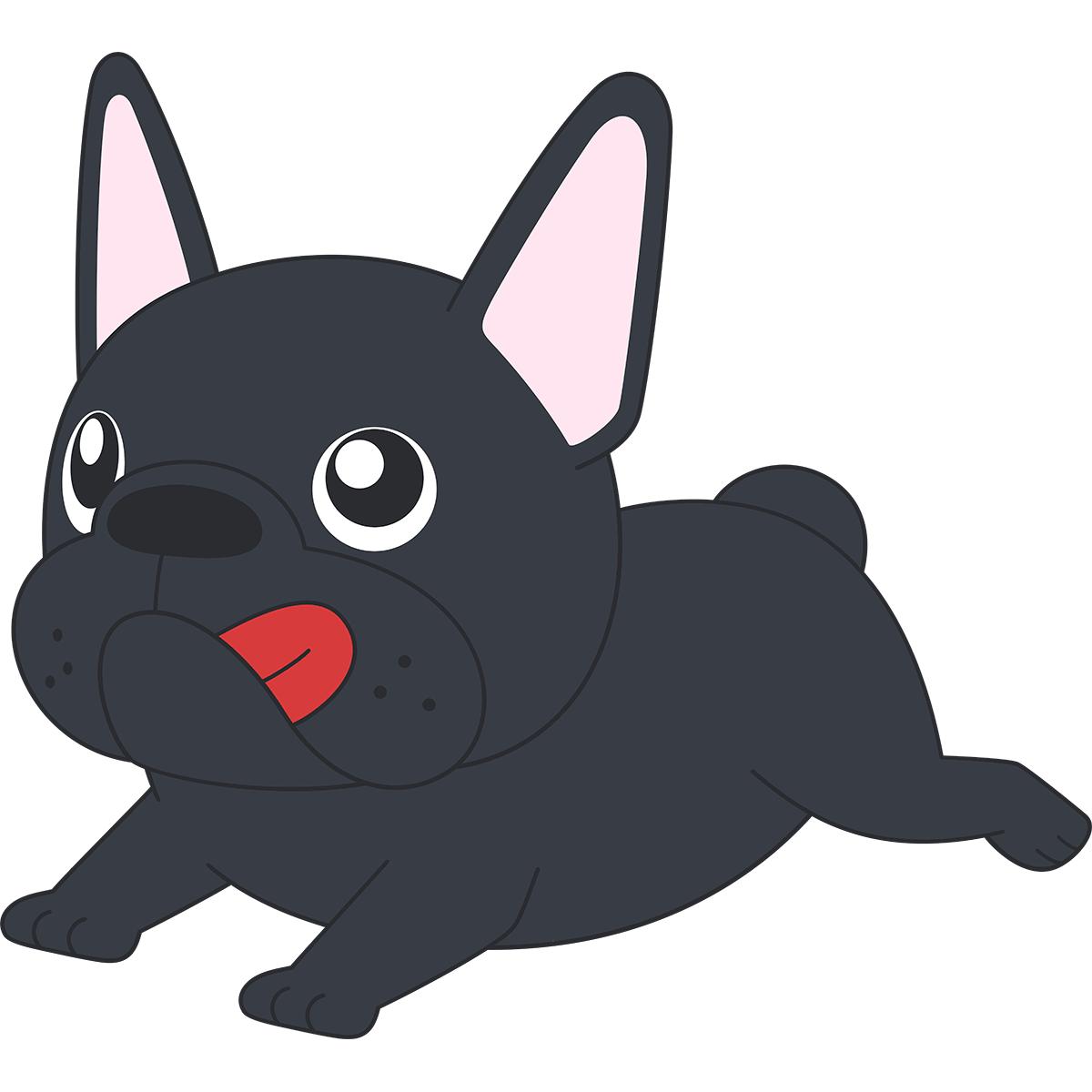 走るフレンチブルドッグ(黒)の無料イラスト