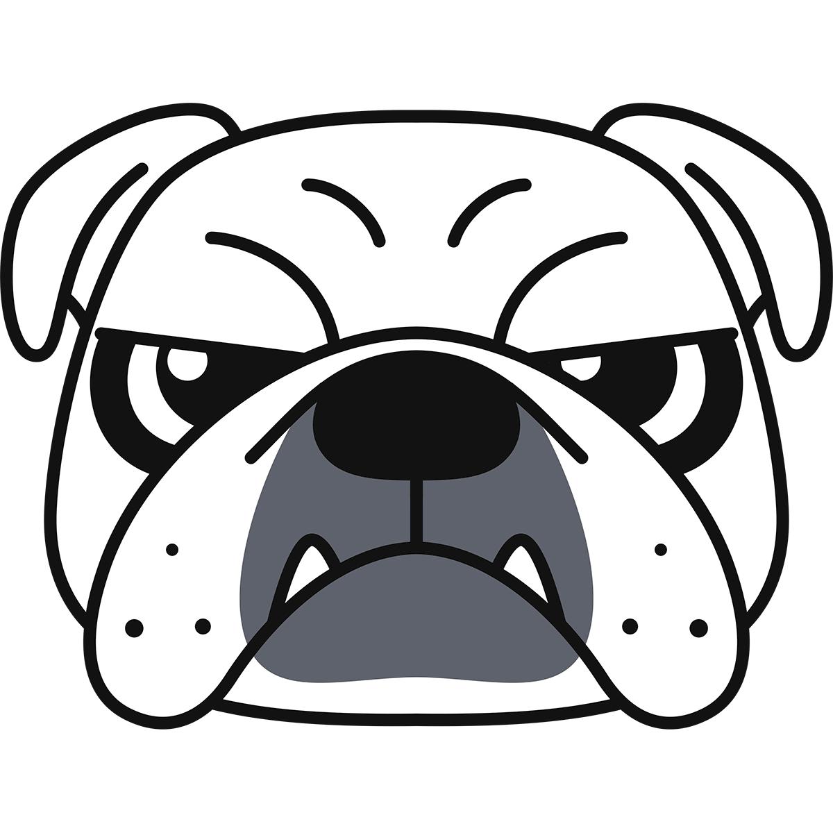ブルドッグの顔(白)の無料イラスト