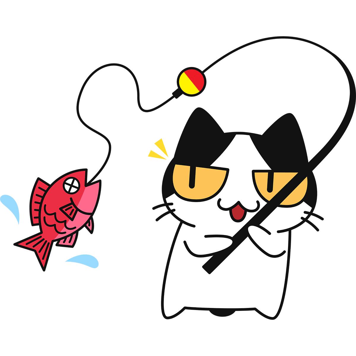 魚釣りをする猫の無料イラスト