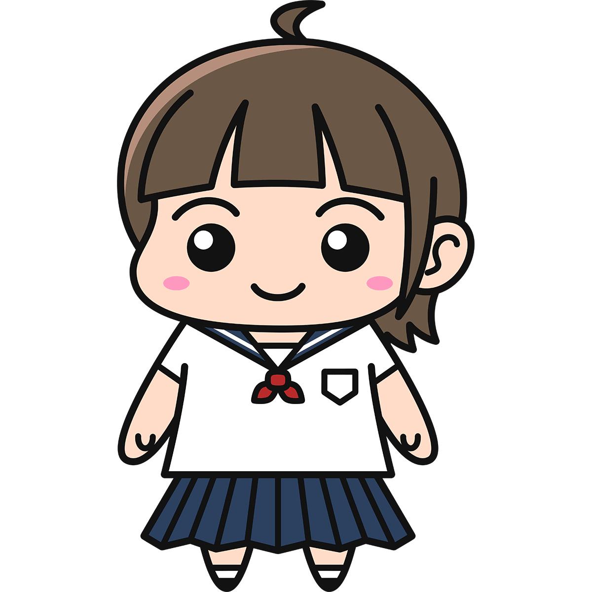 女子高生(セーラー服)の無料イラスト