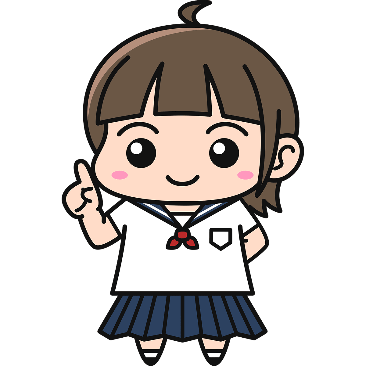 女子高生(説明)の無料イラスト
