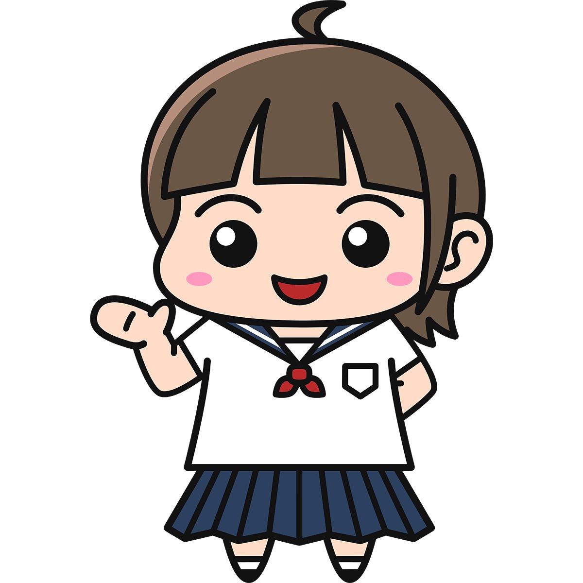 女子高生(案内)の無料イラスト