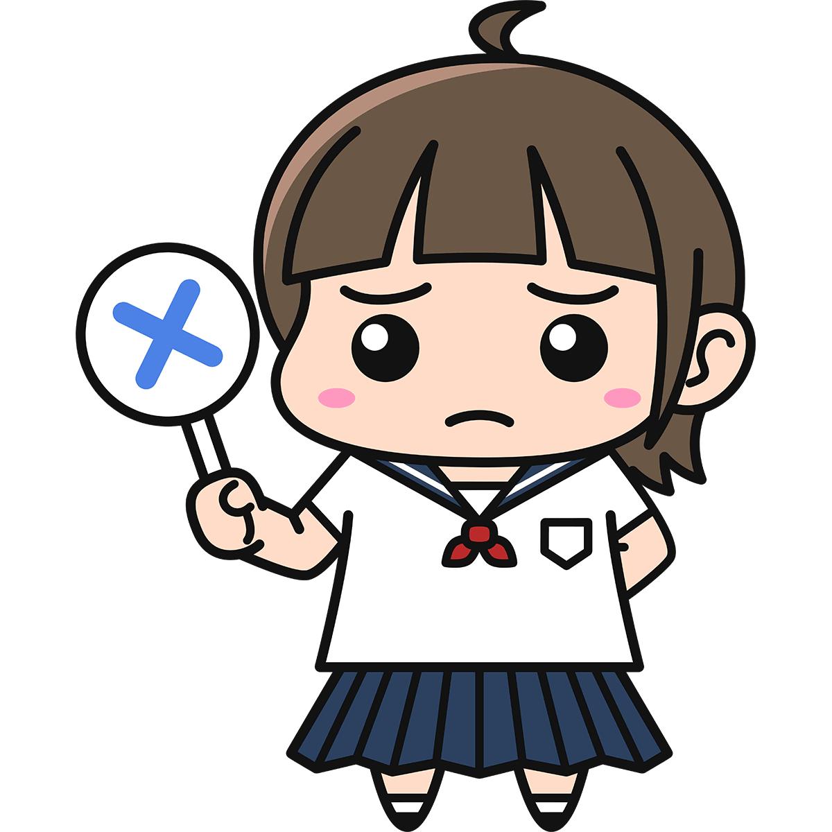 女子高生(不正解)の無料イラスト