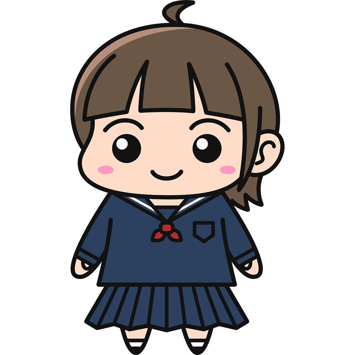 女子高生(冬服)の無料イラスト