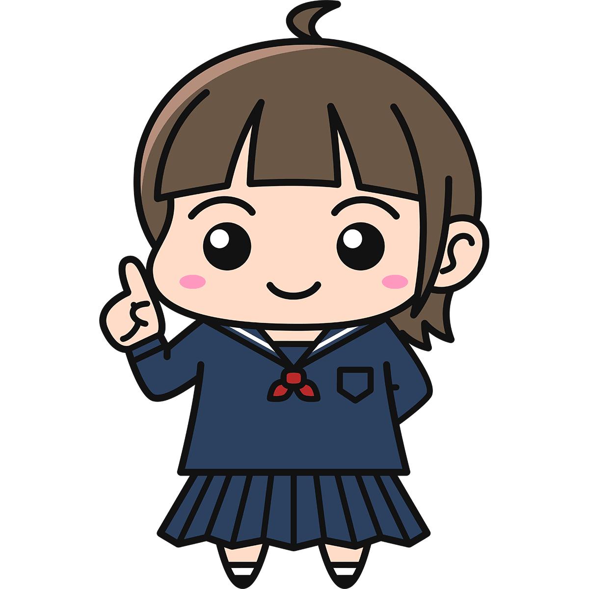 女子高生(説明/冬服)の無料イラスト