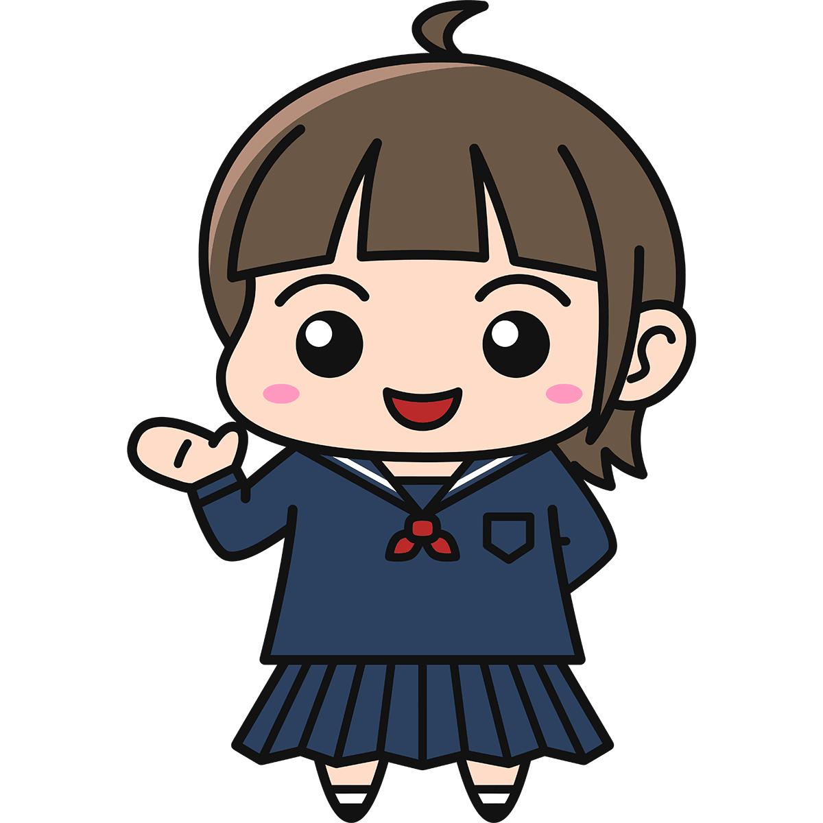 女子高生(案内/冬服)の無料イラスト