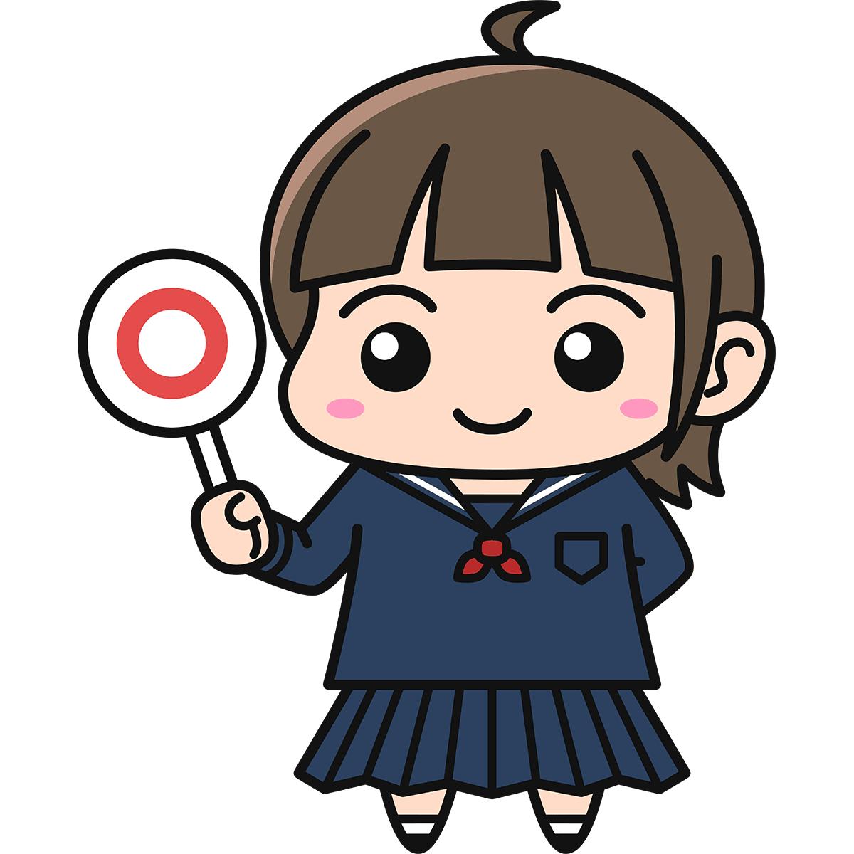 女子高生(正解/冬服)の無料イラスト