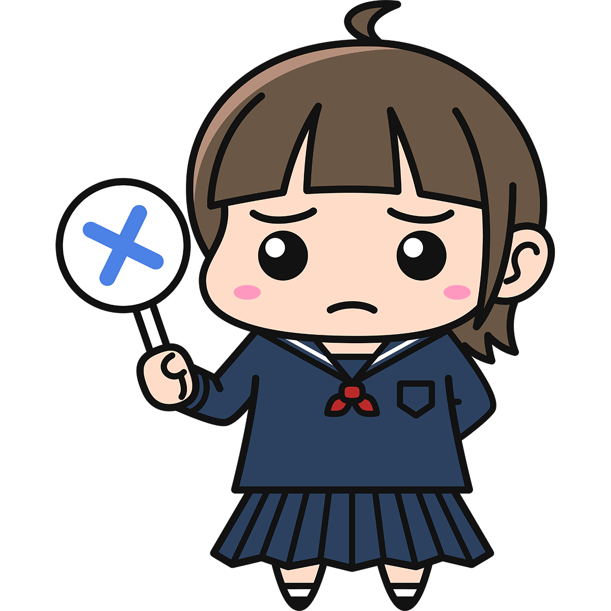 女子高生(不正解/冬服)の無料イラスト