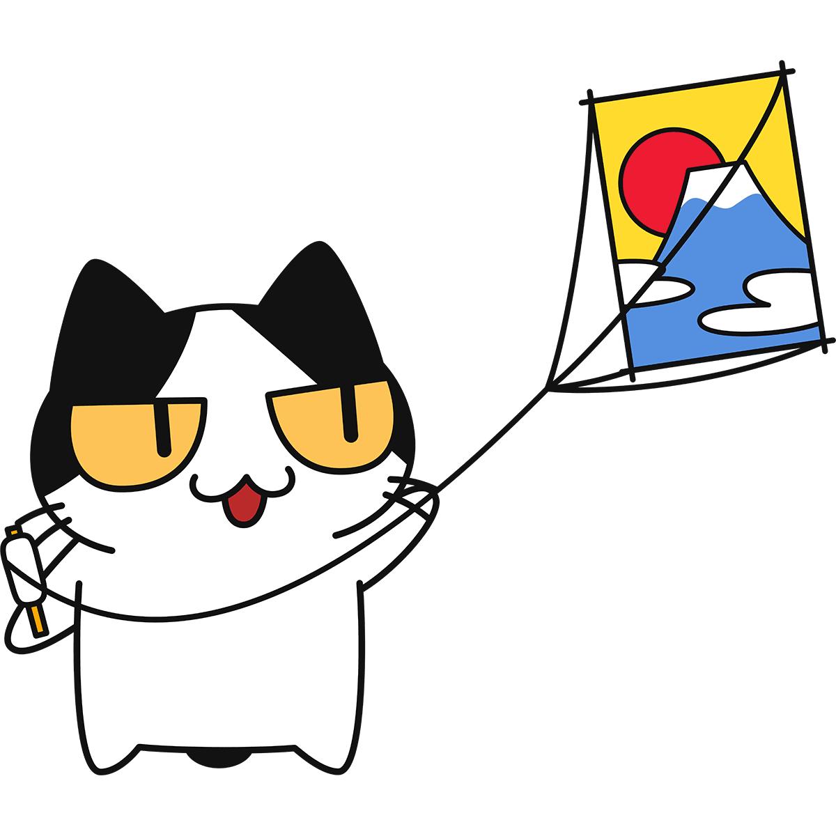 凧あげをする猫の無料イラスト