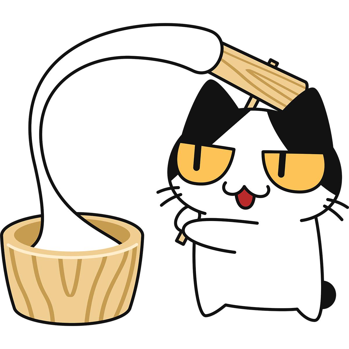 餅つきをする猫の無料イラスト