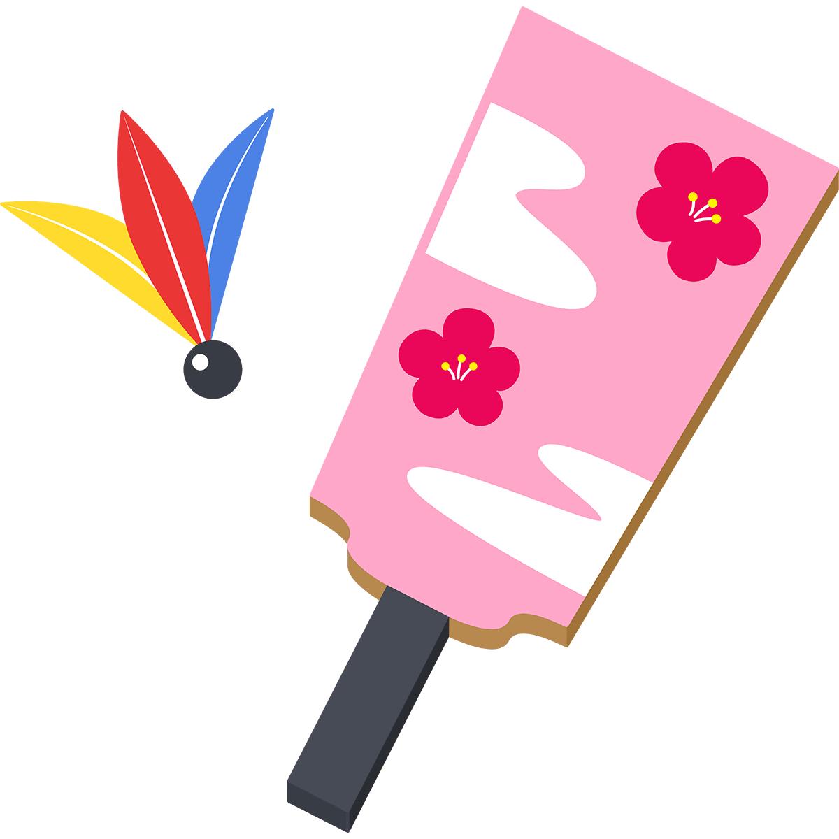 梅の花の羽子板の無料イラスト