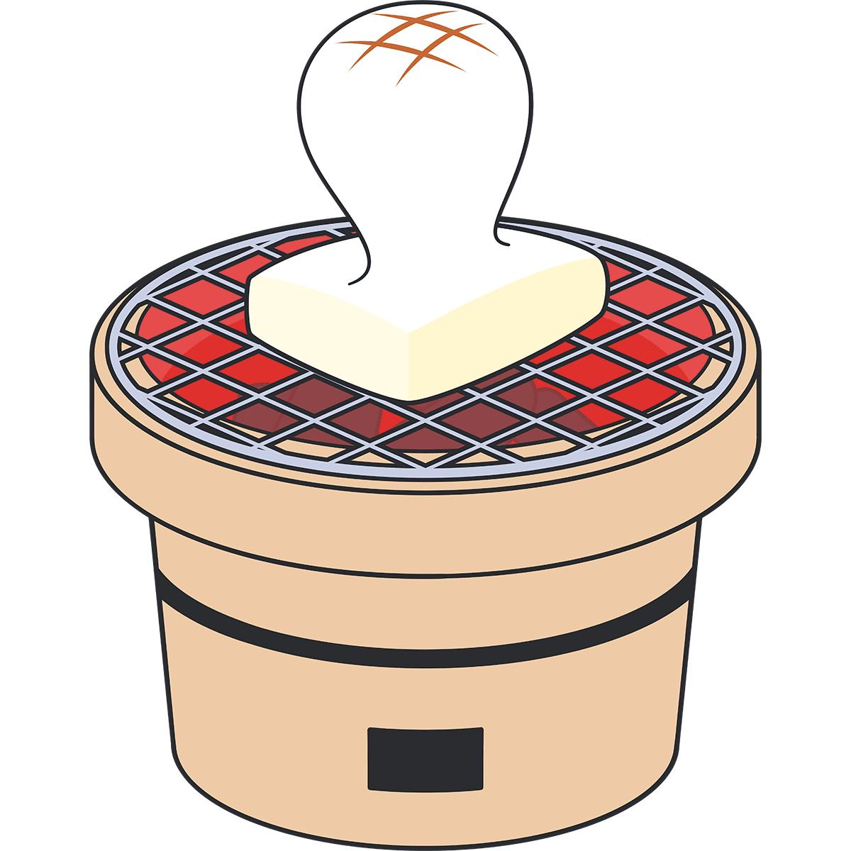 七輪で焼いた餅の無料イラスト