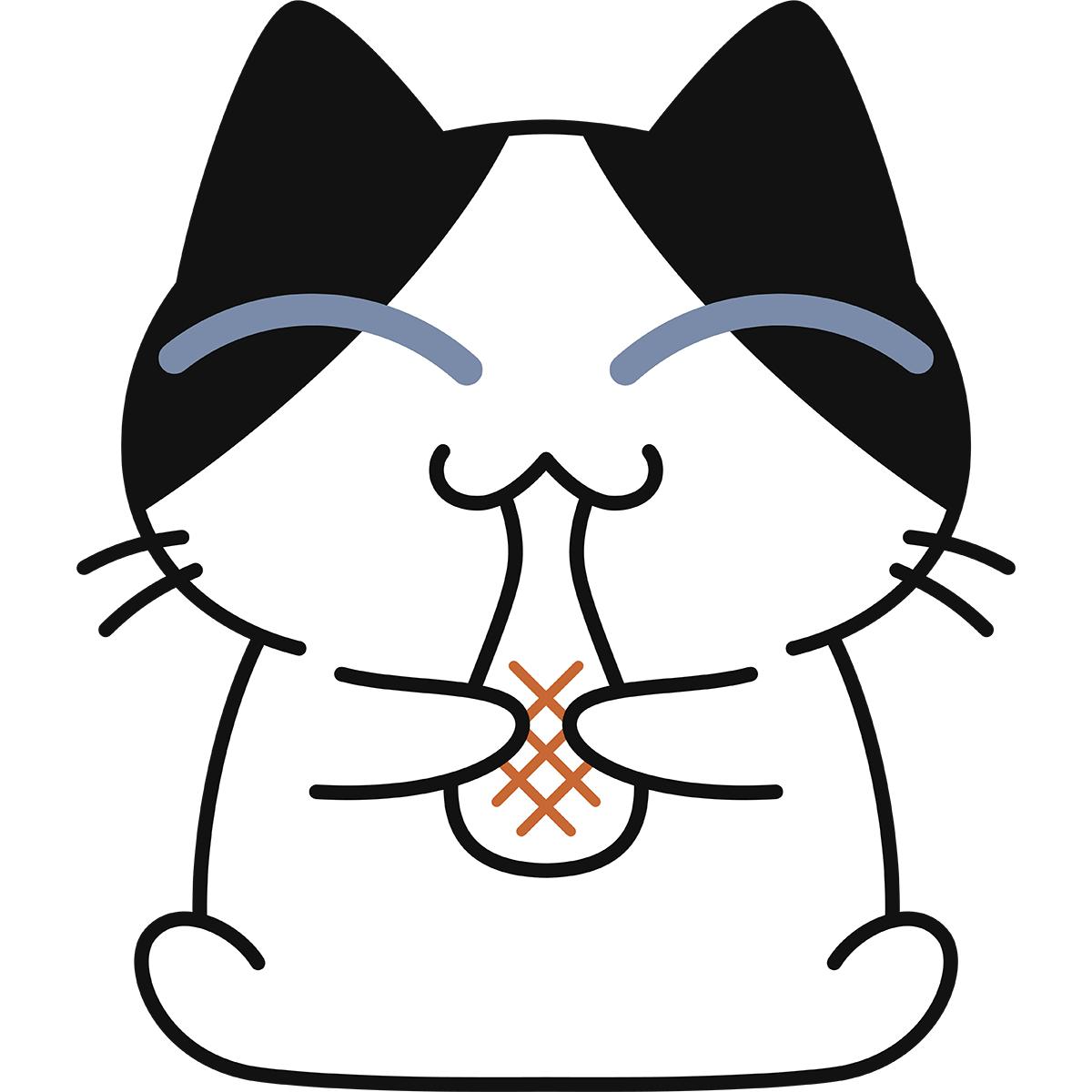 餅を食べる猫の無料イラスト