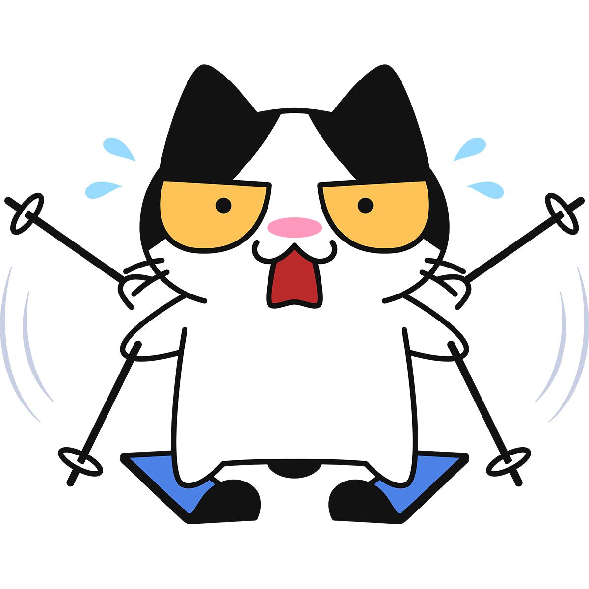 初めてスキーをする猫の無料イラスト