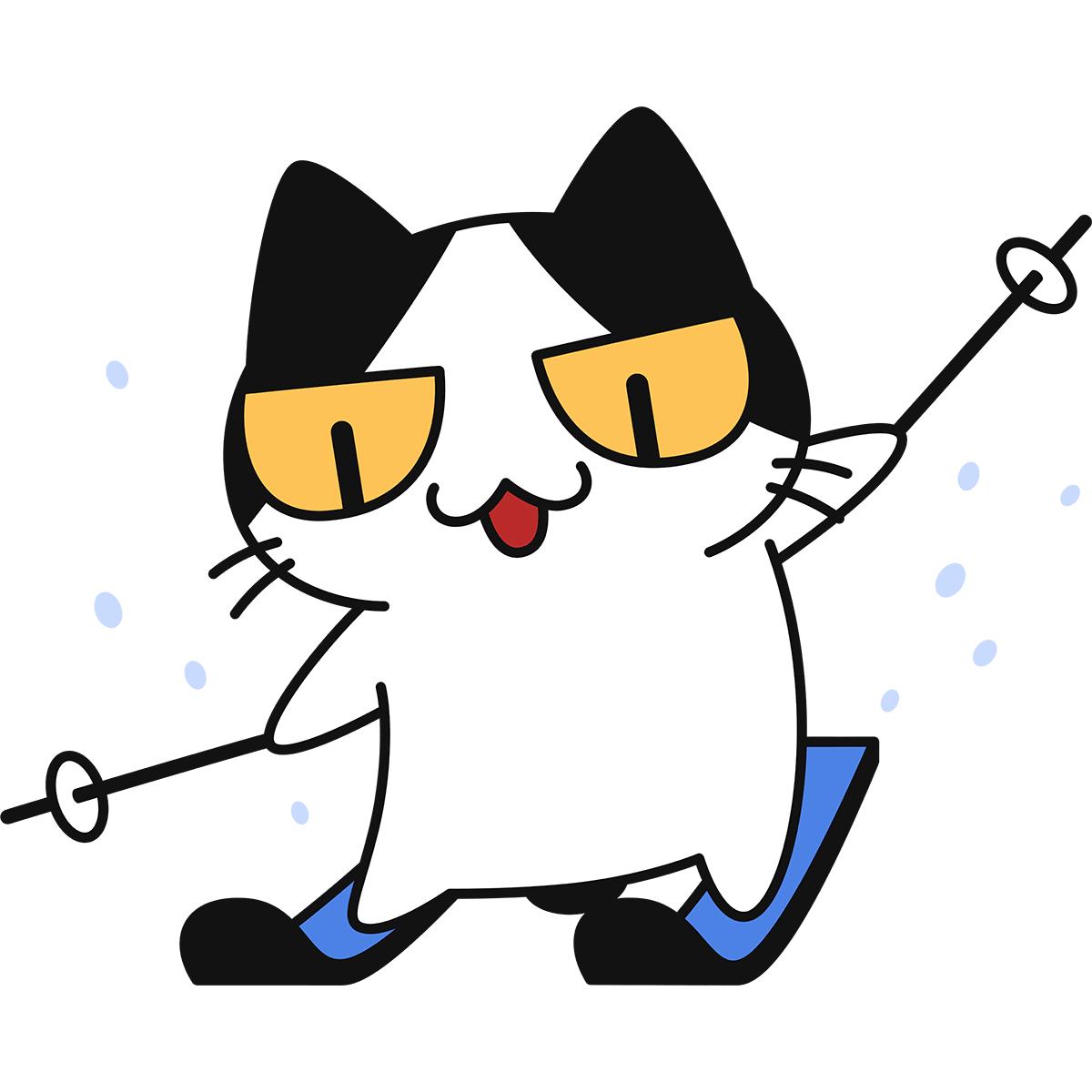 スキーをする猫の無料イラスト