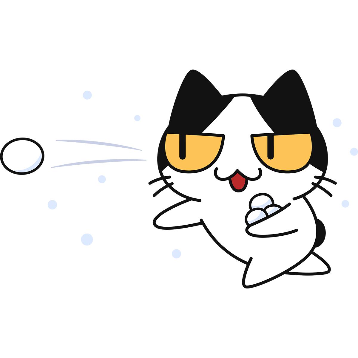 雪合戦をする猫の無料イラスト