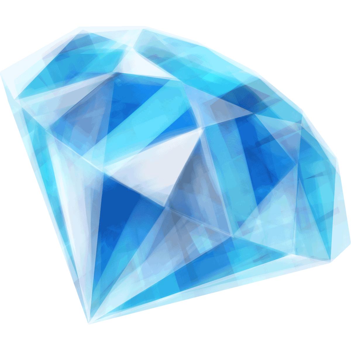 【手描き/宝石】青いダイヤモンドの無料イラスト