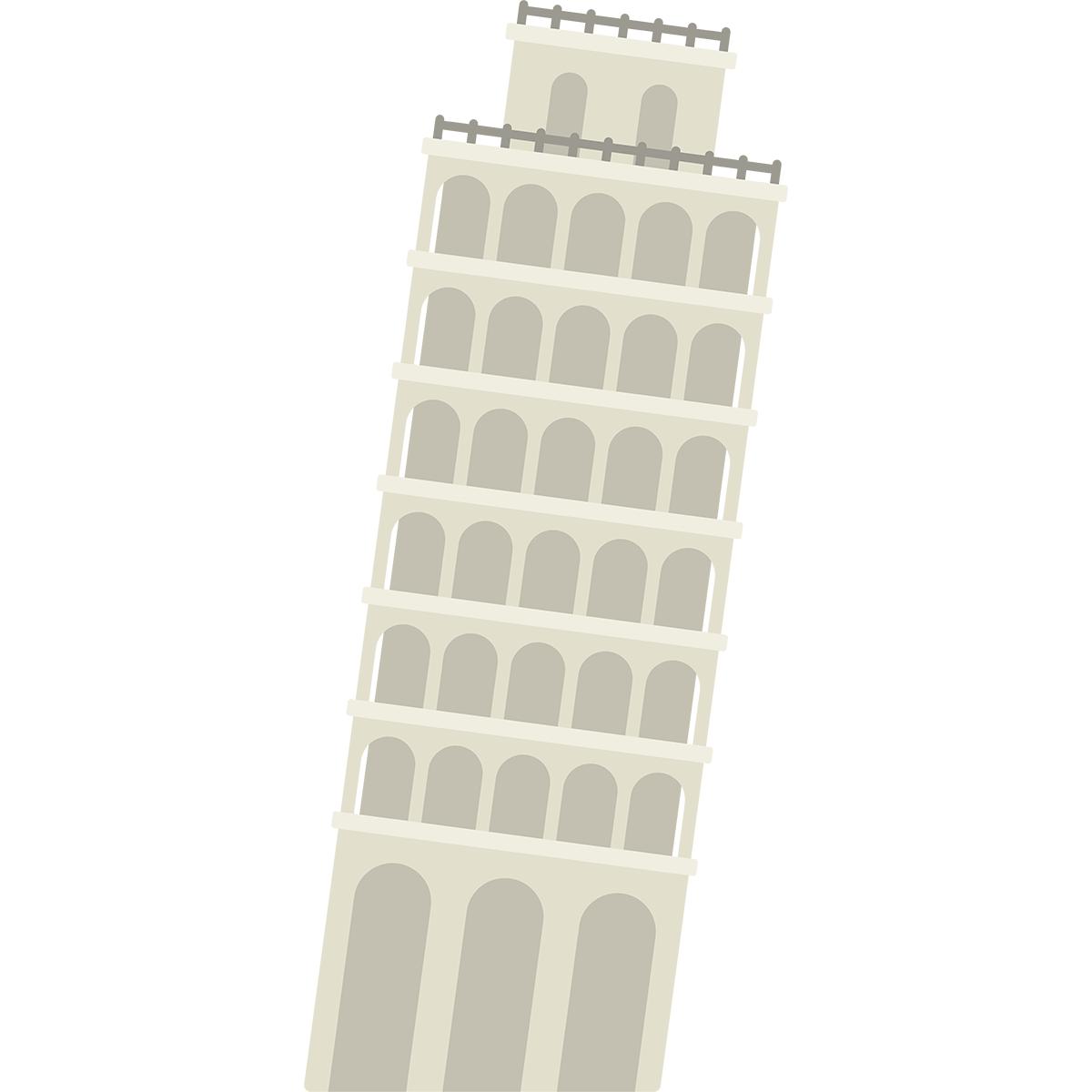 ピサの斜塔の無料イラスト
