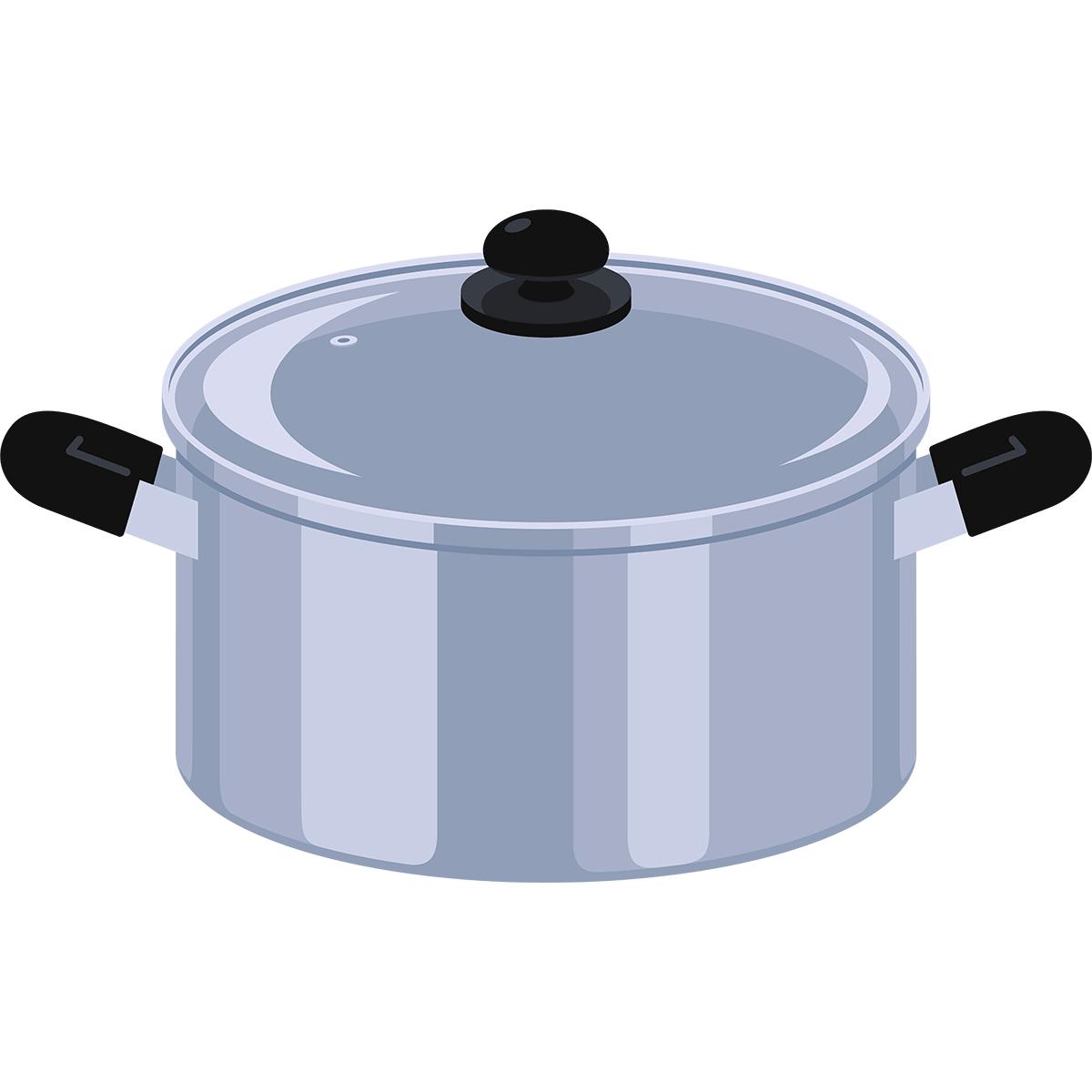 ステンレス鍋の無料イラスト