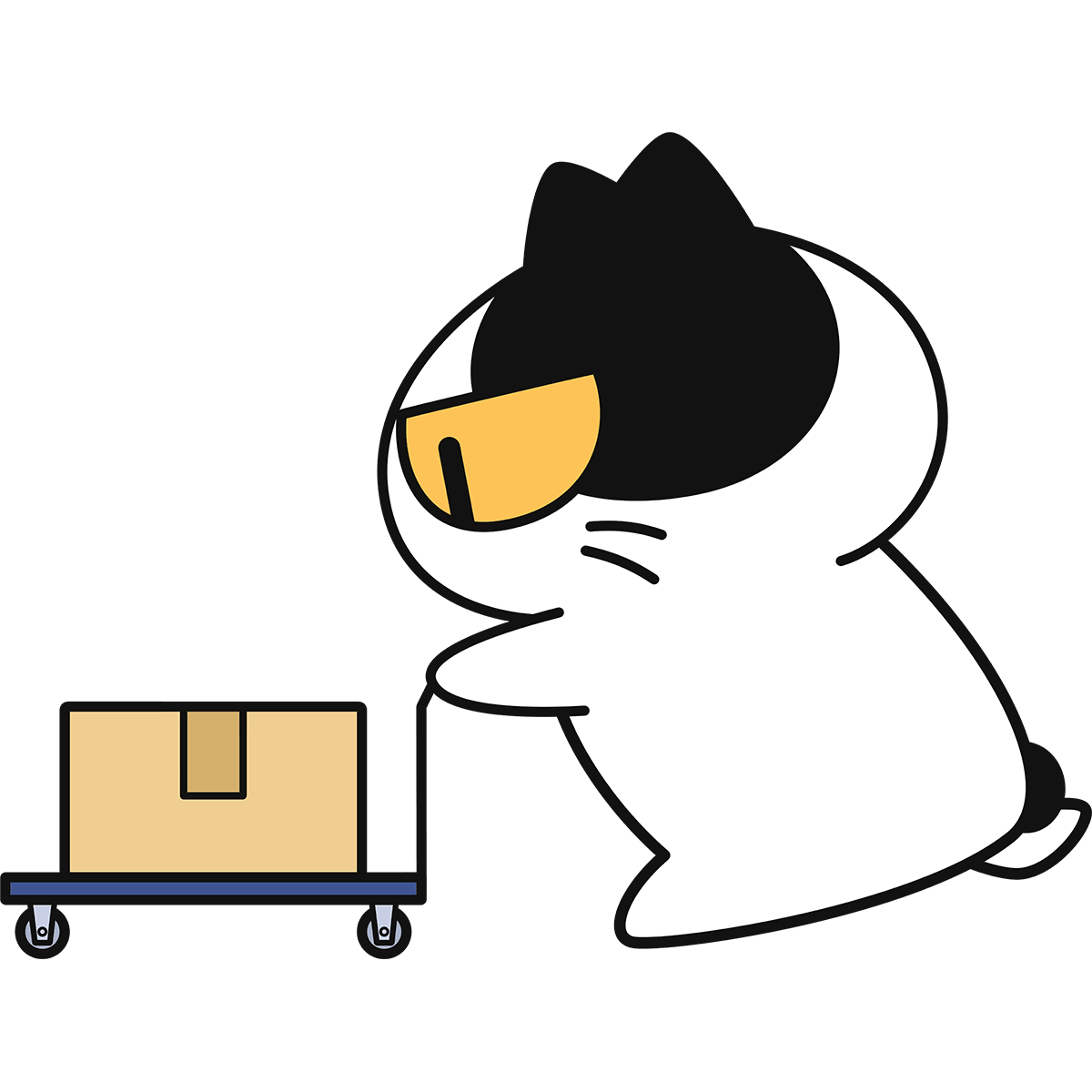 台車を押す猫の無料イラスト
