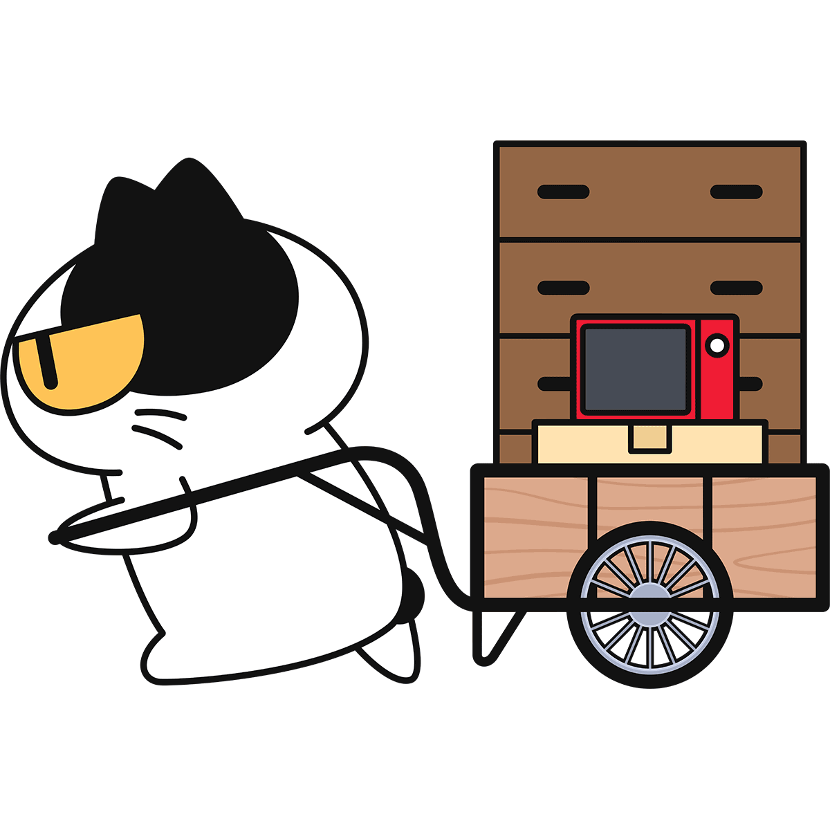 リヤカーを引く猫の無料イラスト