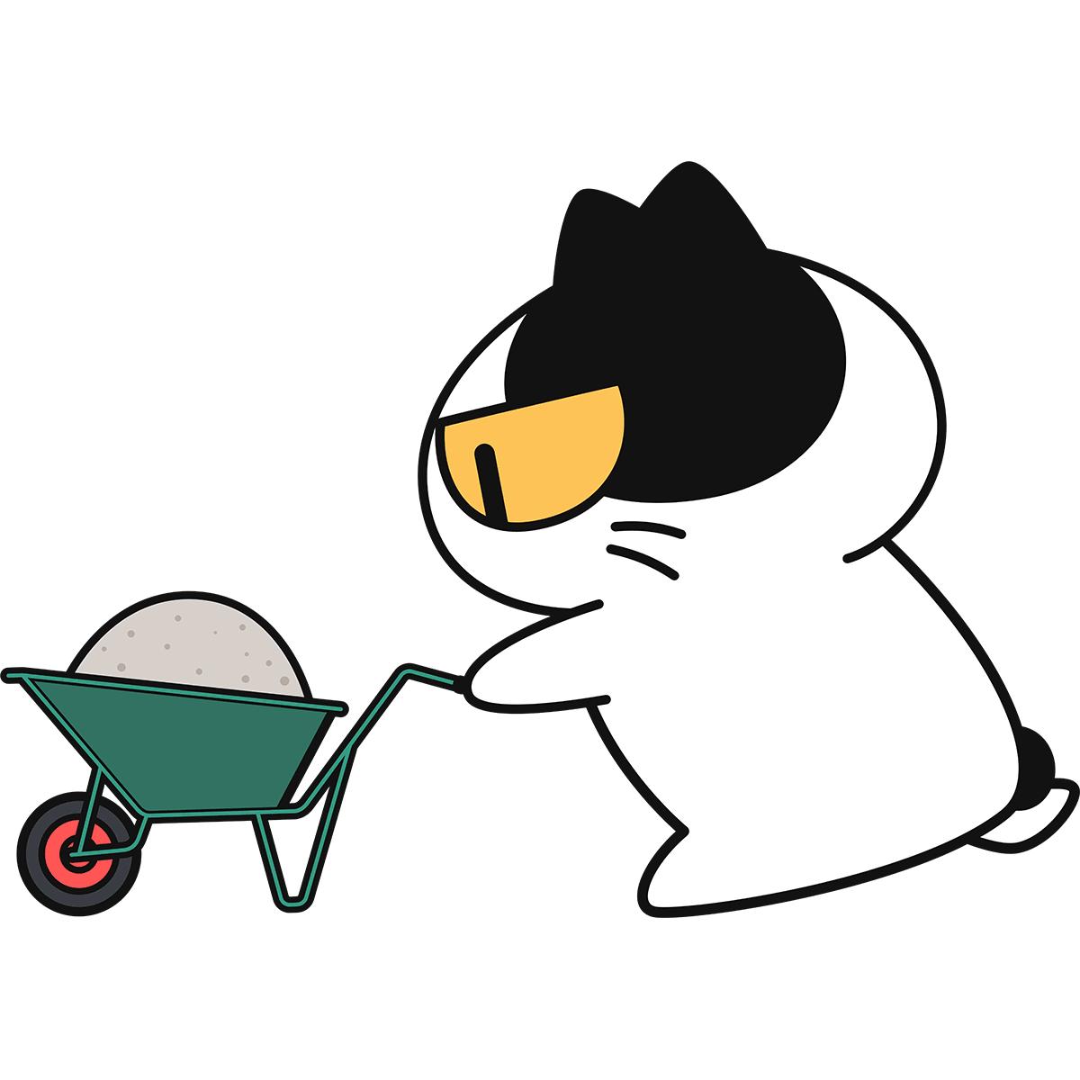 手押し車を押す猫の無料イラスト