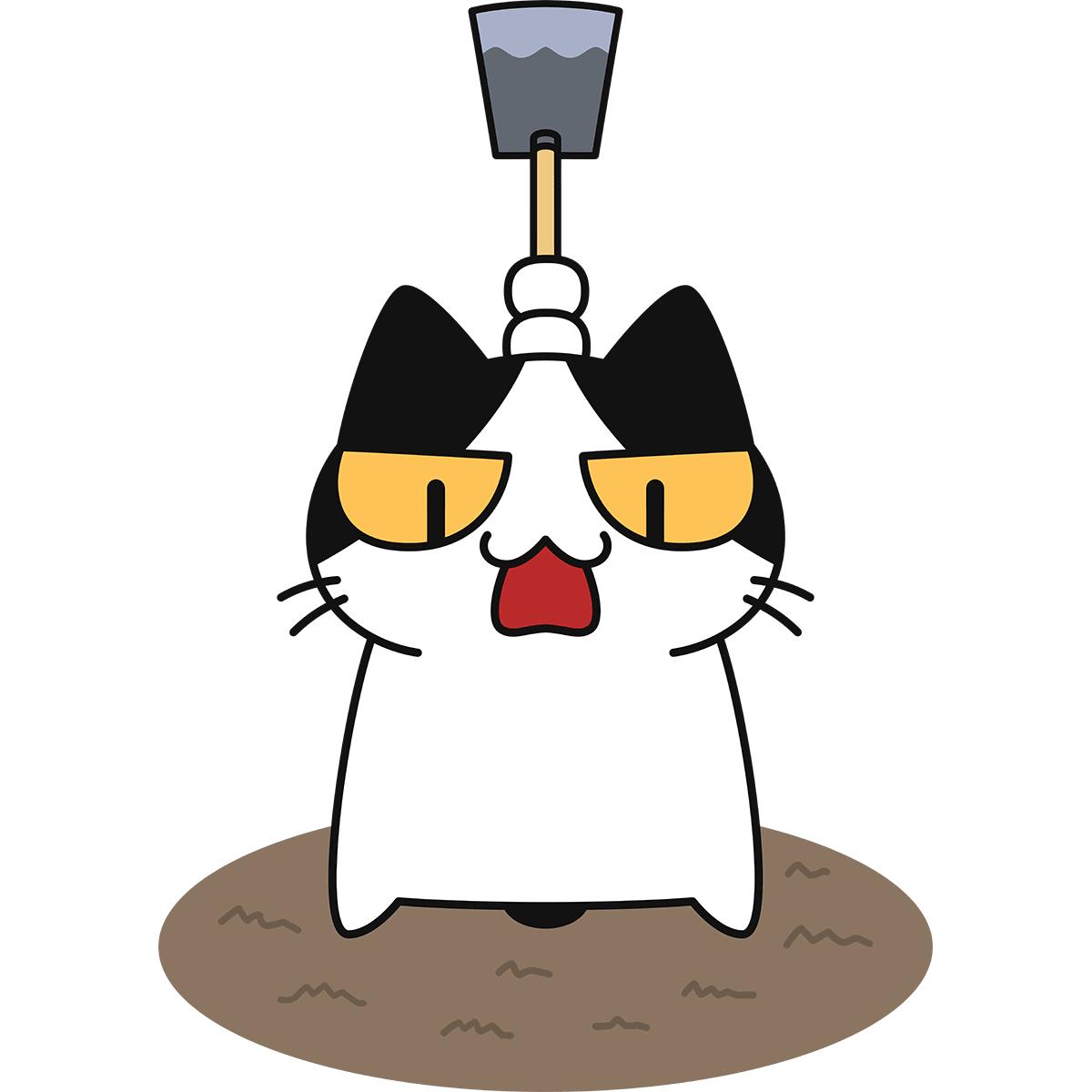 鍬で畑を耕す猫の無料イラスト