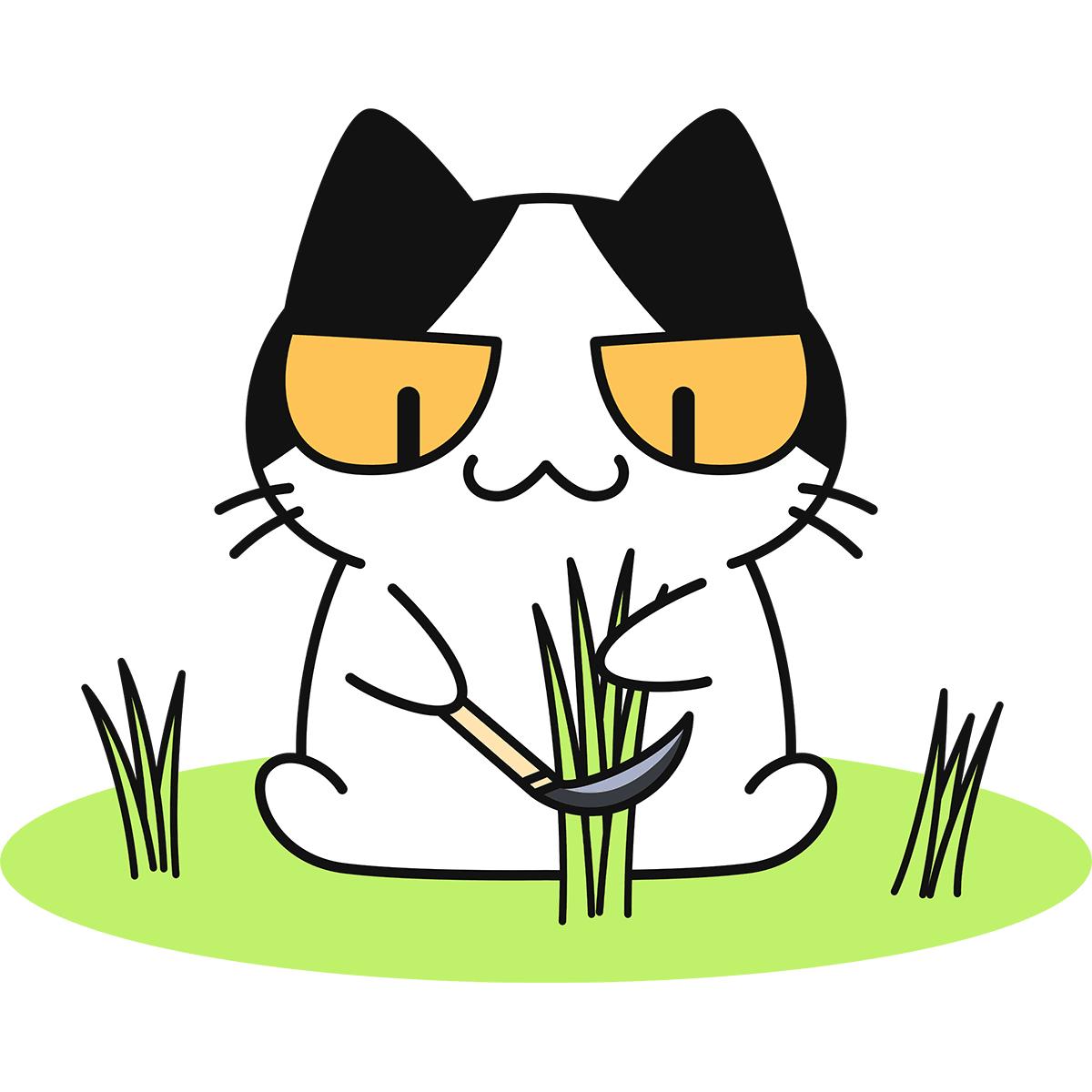 鎌で草を刈る猫の無料イラスト