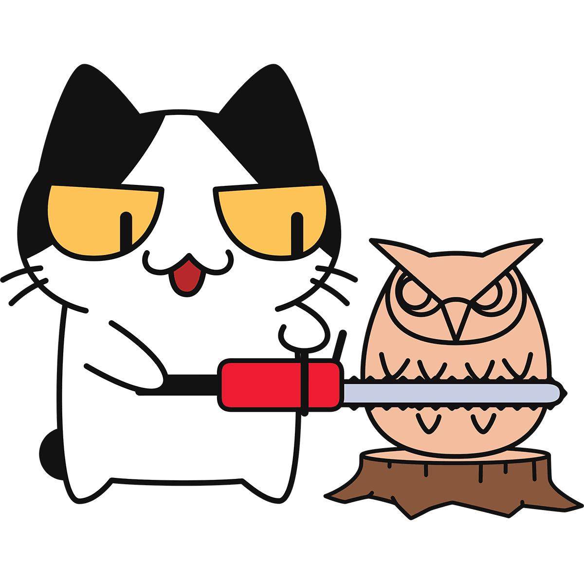 チェーンソーアートをする猫の無料イラスト