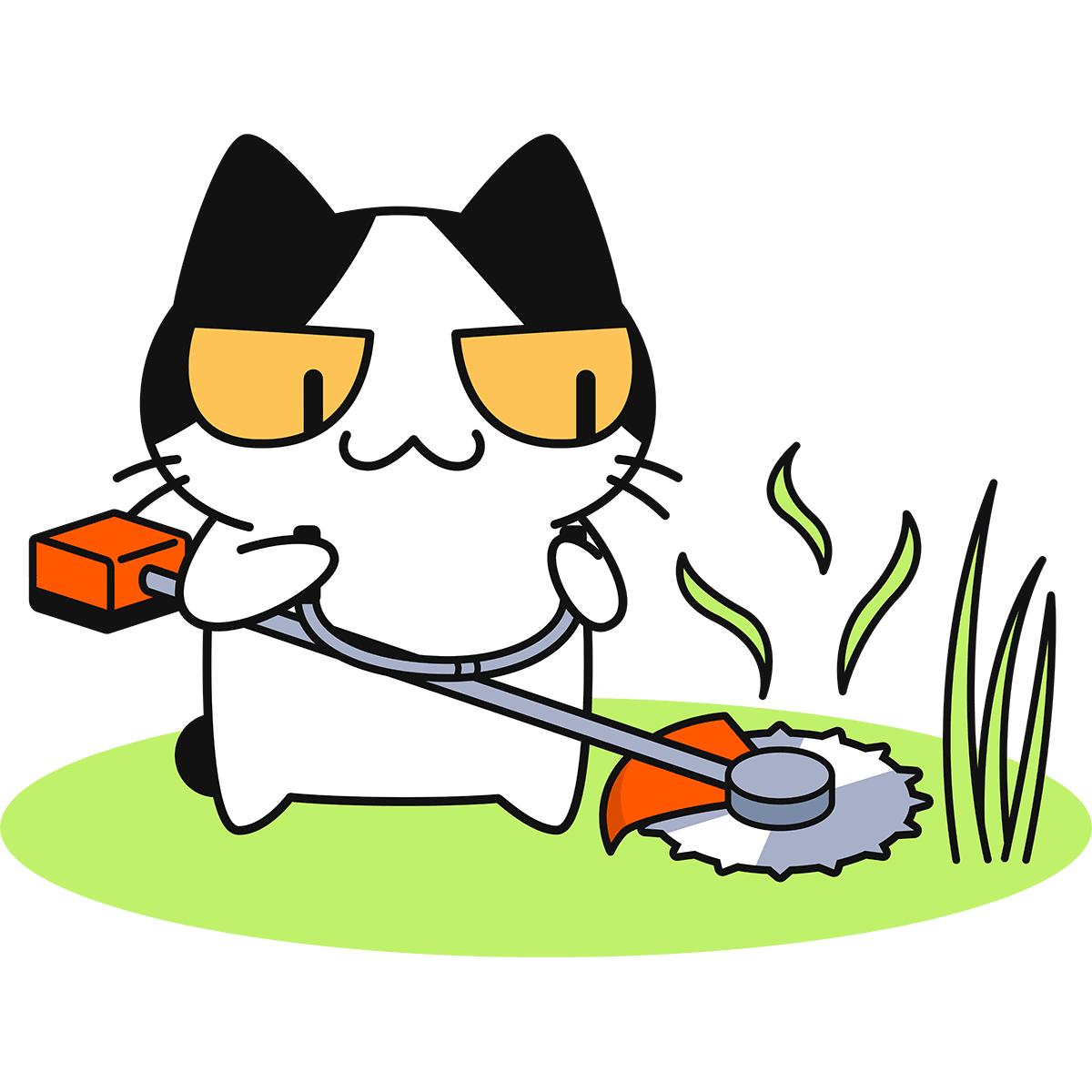 草刈り機で草を刈る猫の無料イラスト