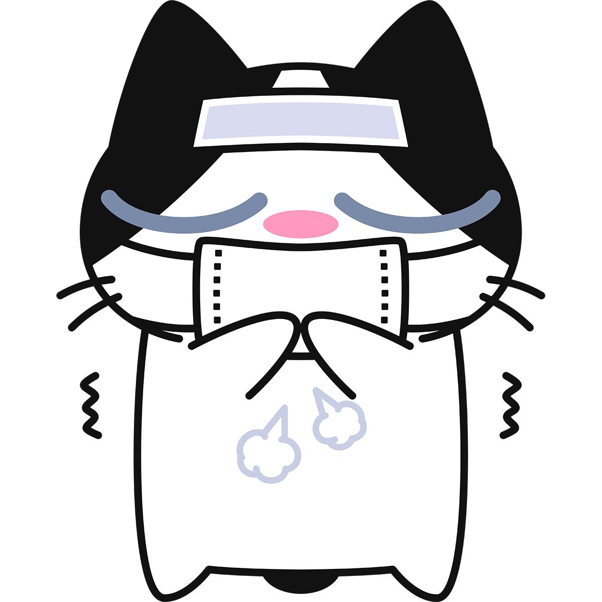 風邪をひいた猫(インフルエンザ)の無料イラスト