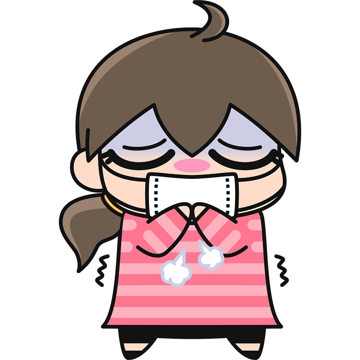 風邪をひいた女性(インフルエンザ)の無料イラスト