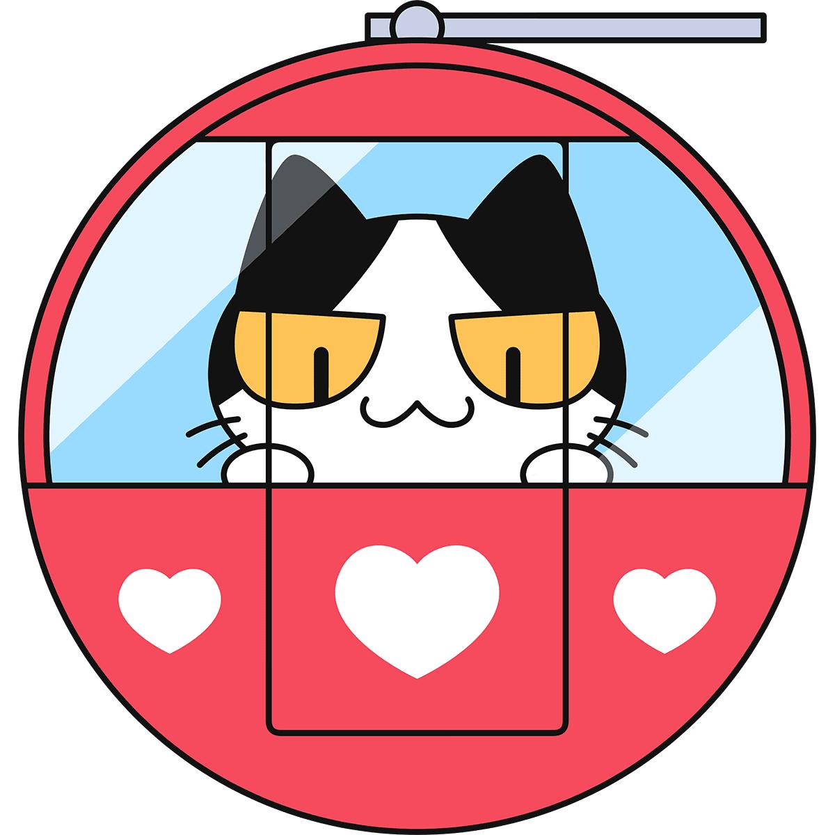 観覧車に乗る猫の無料イラスト