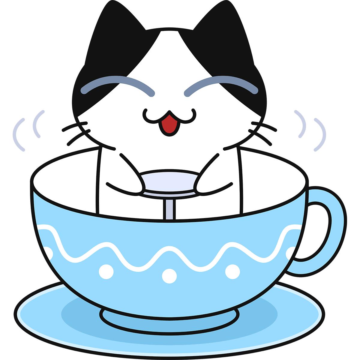 遊園地のコーヒーカップに乗る猫の無料イラスト
