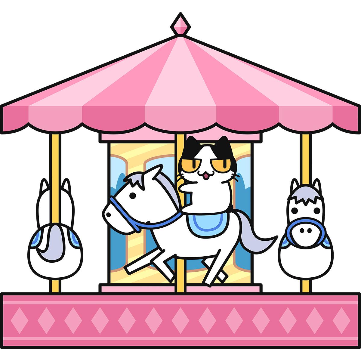 メリーゴーランドに乗る猫の無料イラスト
