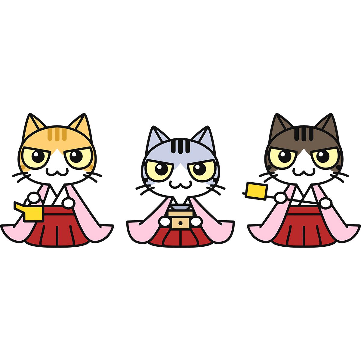 猫の三人官女の無料イラスト