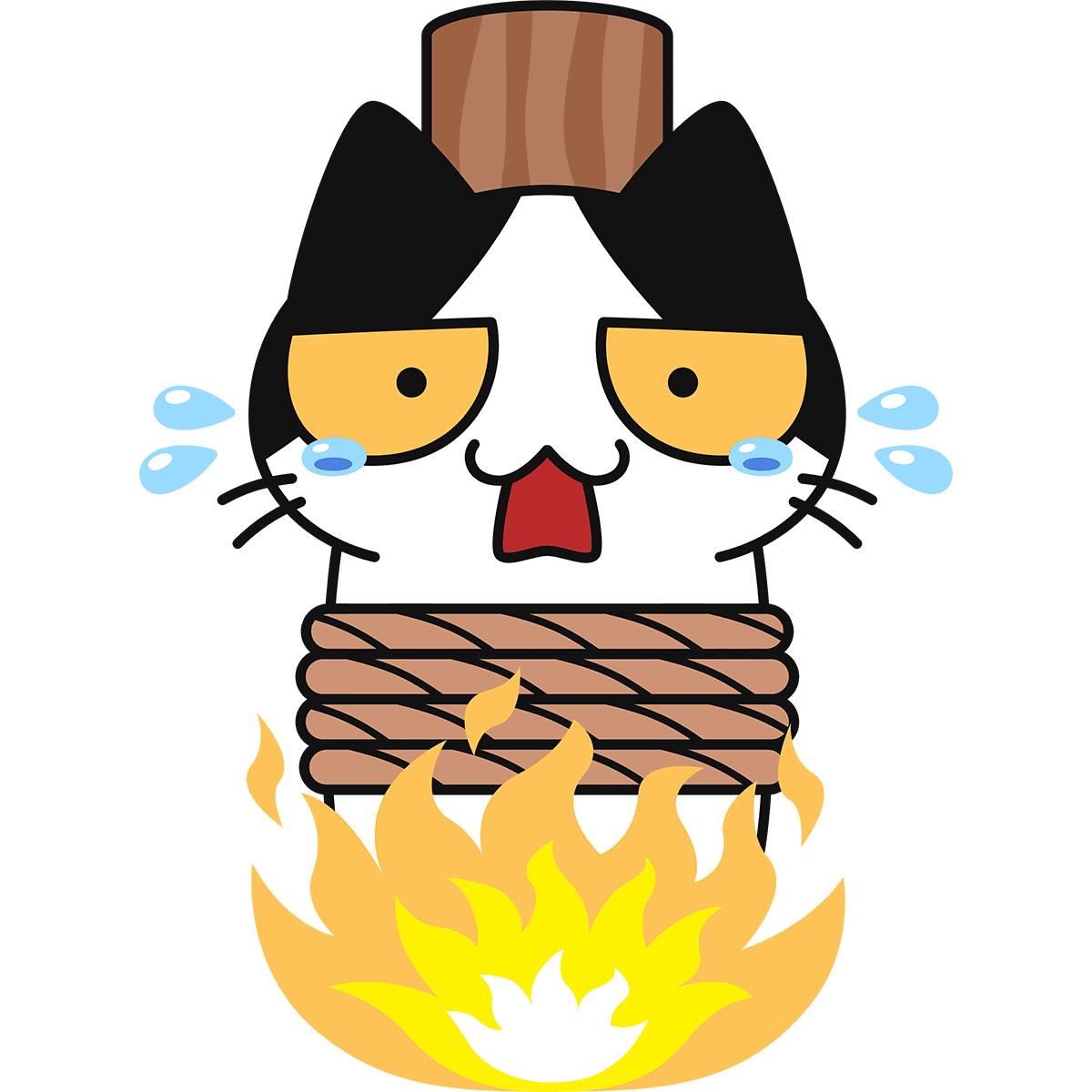 火あぶりになる猫の無料イラスト