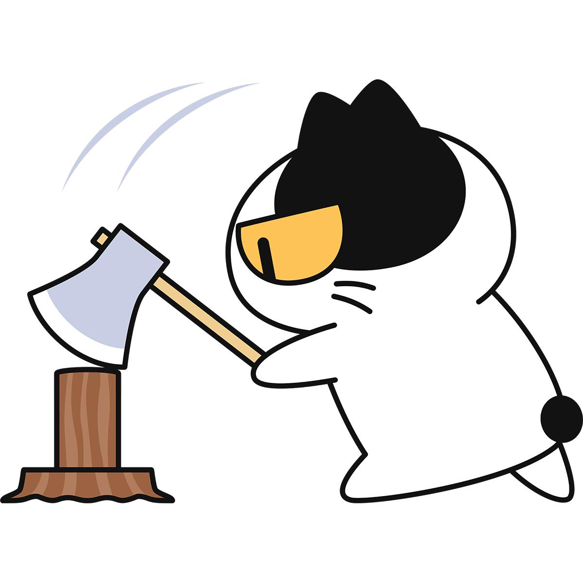 薪割りをする猫の無料イラスト