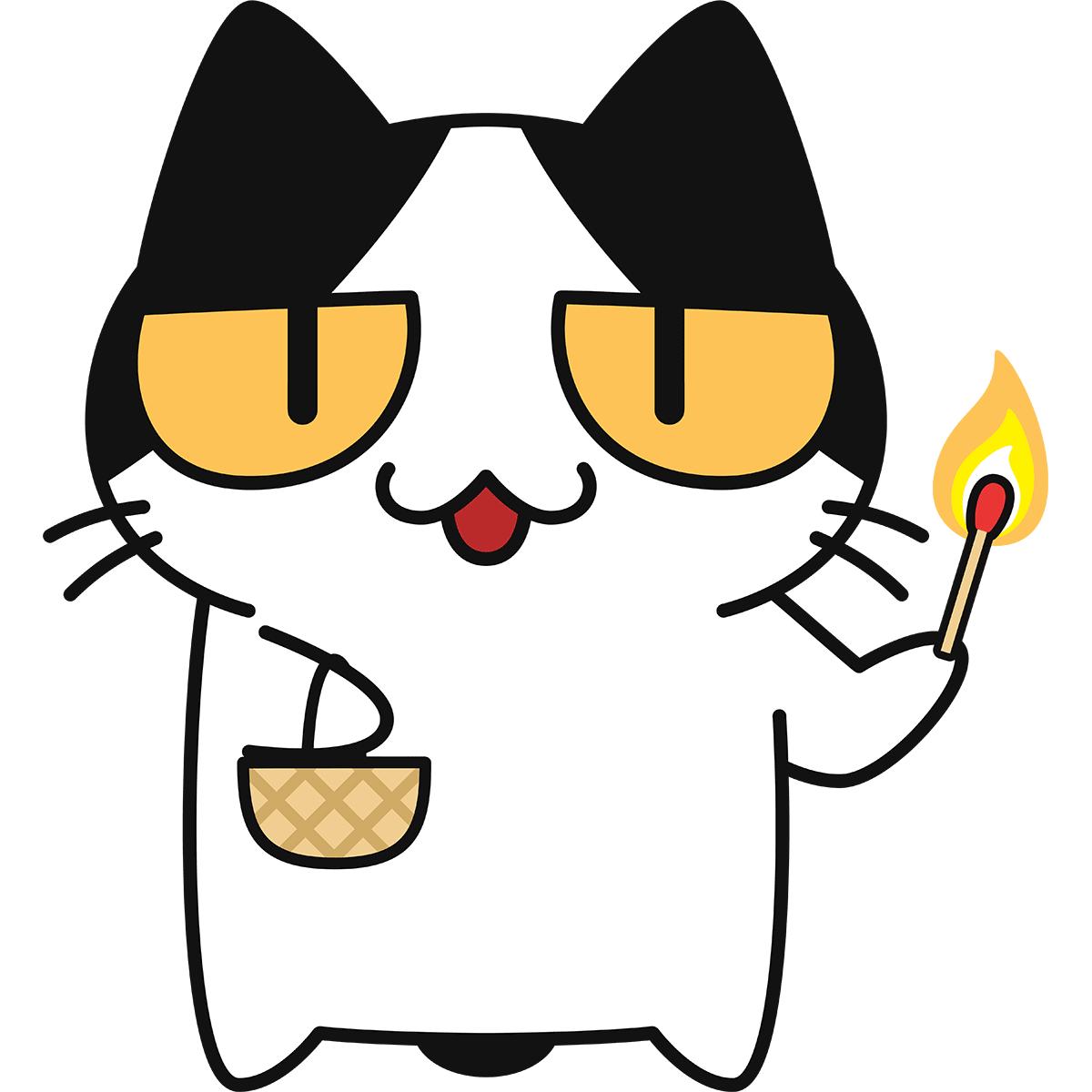 マッチ売りの猫の無料イラスト