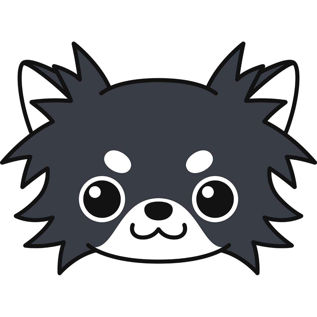 チワワの顔(黒)の無料イラスト