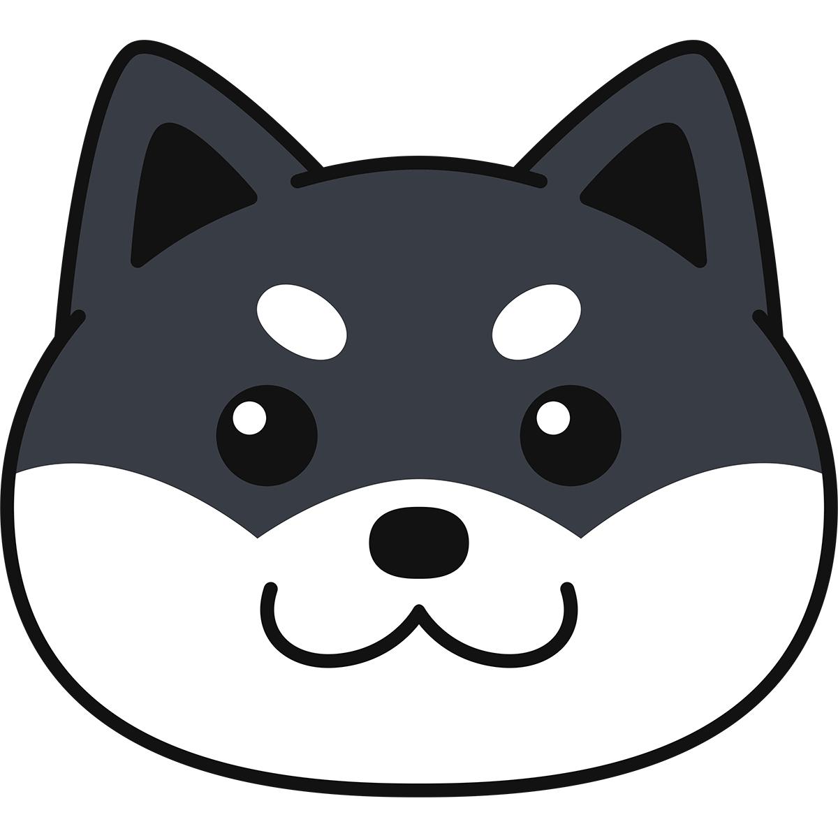 黒柴の顔(柴犬)の無料イラスト