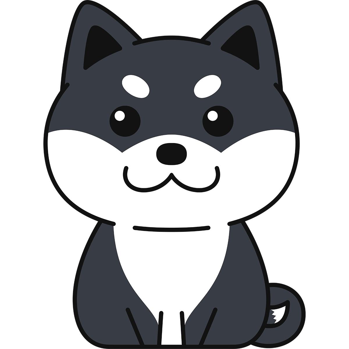 座る黒柴(柴犬)の無料イラスト
