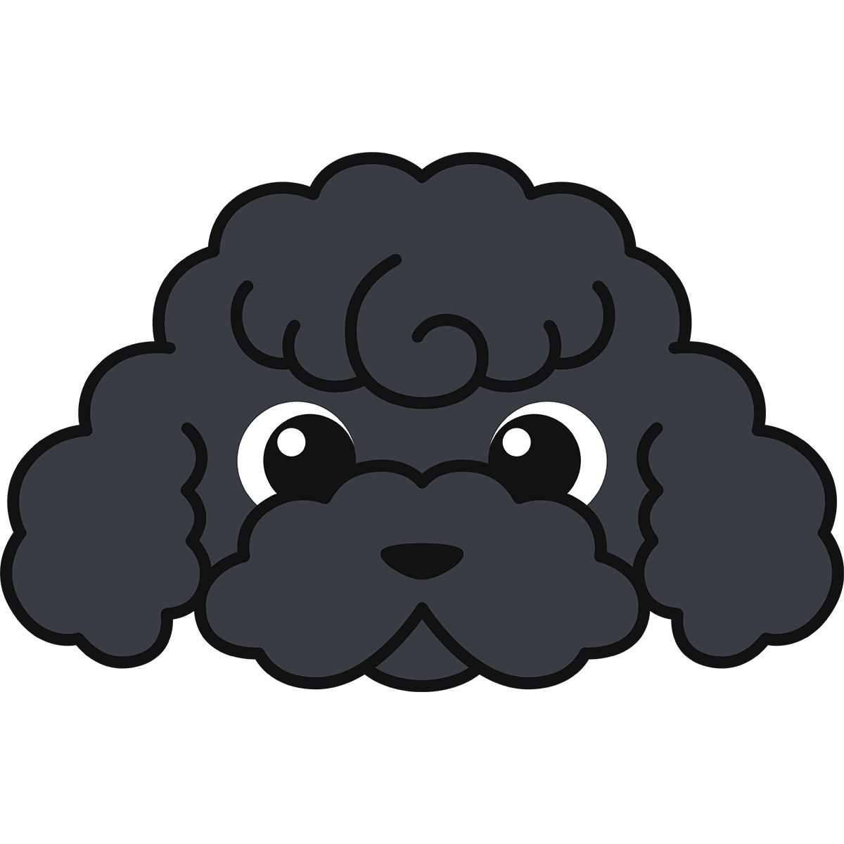 トイプードルの顔(黒)の無料イラスト