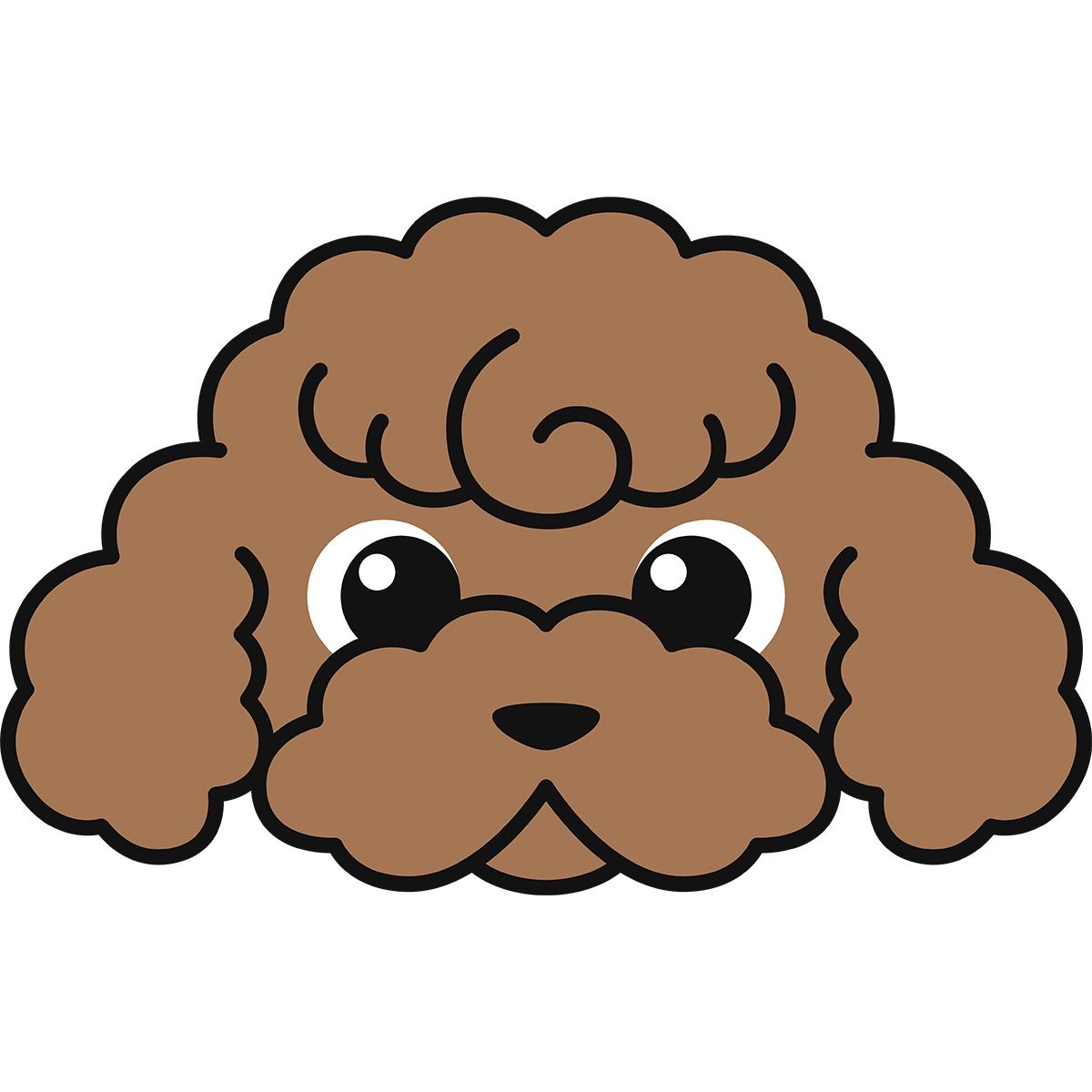 トイプードルの顔(茶色)の無料イラスト