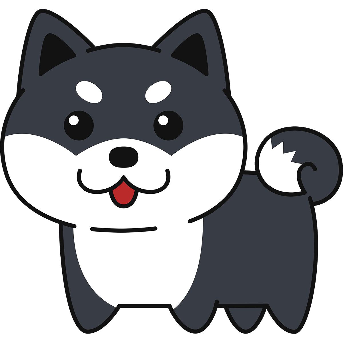 黒柴(柴犬)の無料イラスト