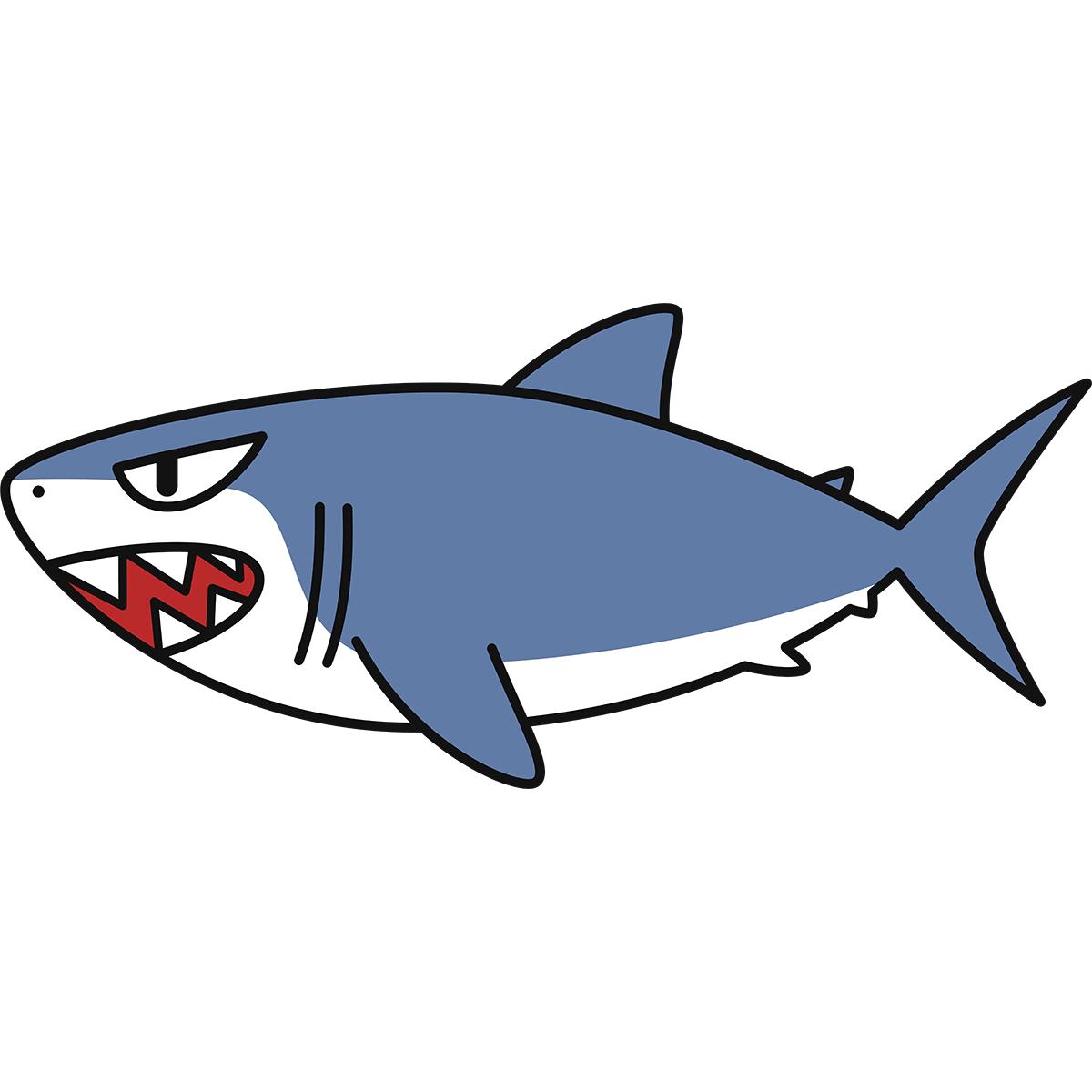 ホオジロザメ(鮫)の無料イラスト