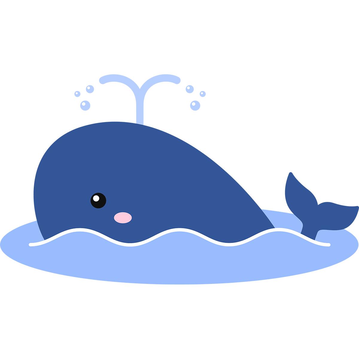泳ぐクジラの無料イラスト